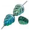 Glass Leaves 11x8mm Strung Transparent Emerald Aurora Borealis